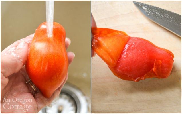 thawing-peeling frozen tomatoes