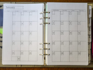 2021 Flexible Planner-Monthly calendar pages