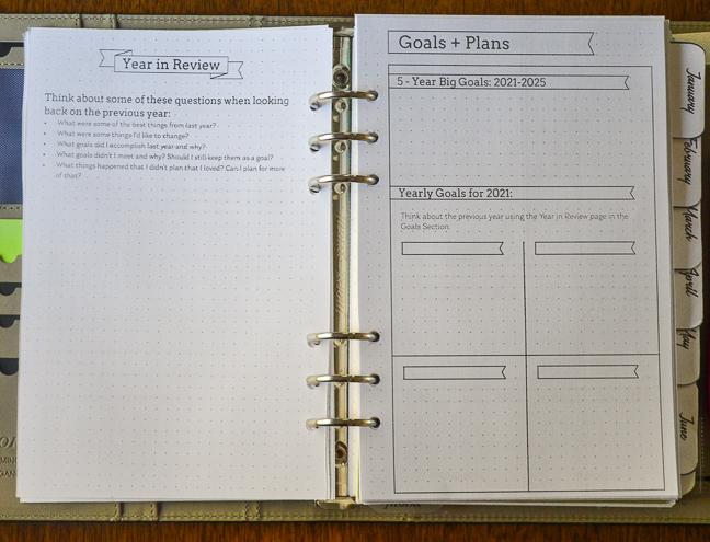 2021 Flexible Planner-goals-plans page