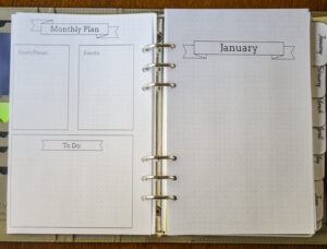 2021 Flexible Planner-monthly goals page
