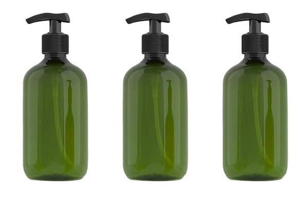 green plastic pump bottles