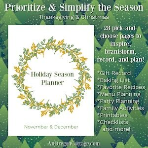 Free 24-page holiday seasonal planner