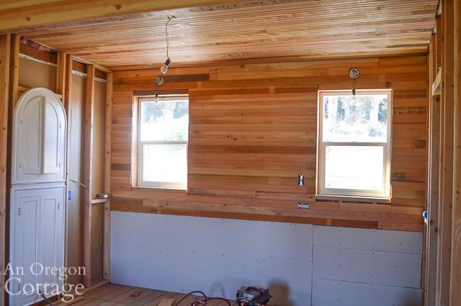 kitchen window wall-ceiling beadboard