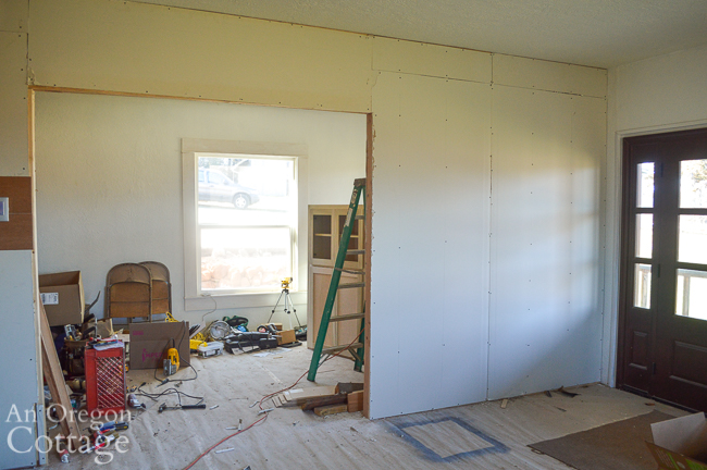 new farmhouse wall in living area