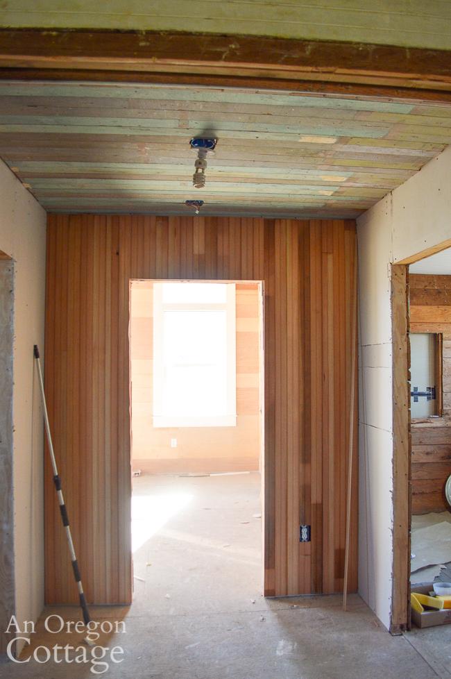 partial wood hallway walls
