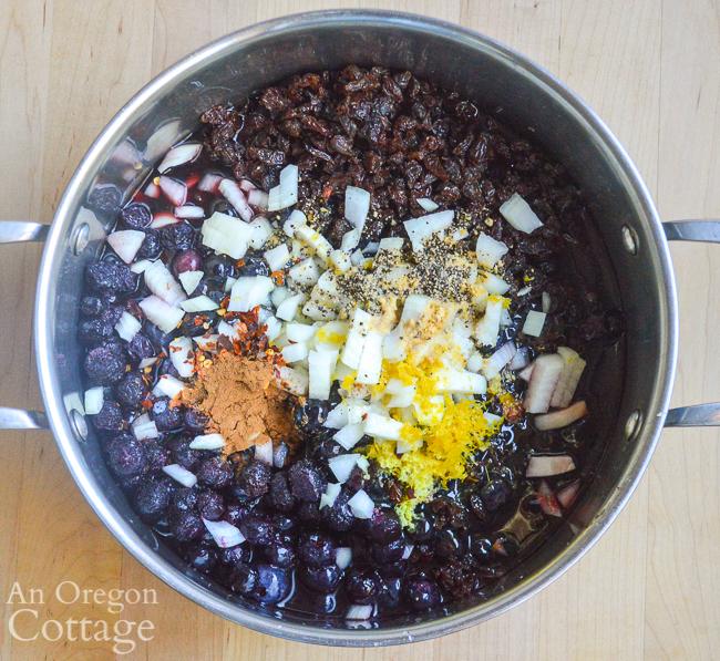 blueberry chutney ingredients in pot