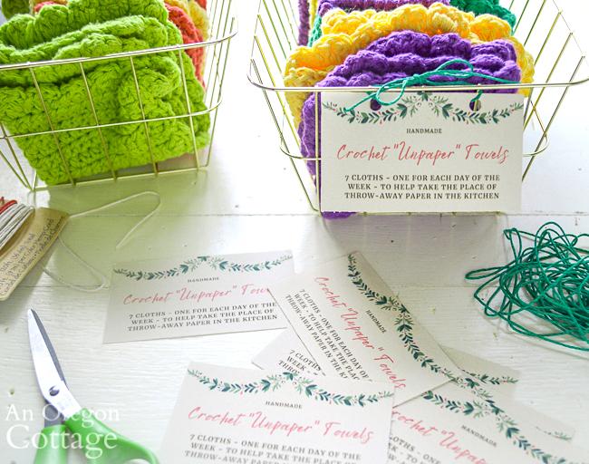 attaching crochet unpaper towels labels