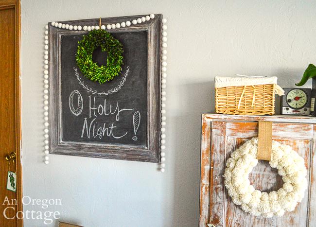 Christmas chalkboard and DIY wool wreath