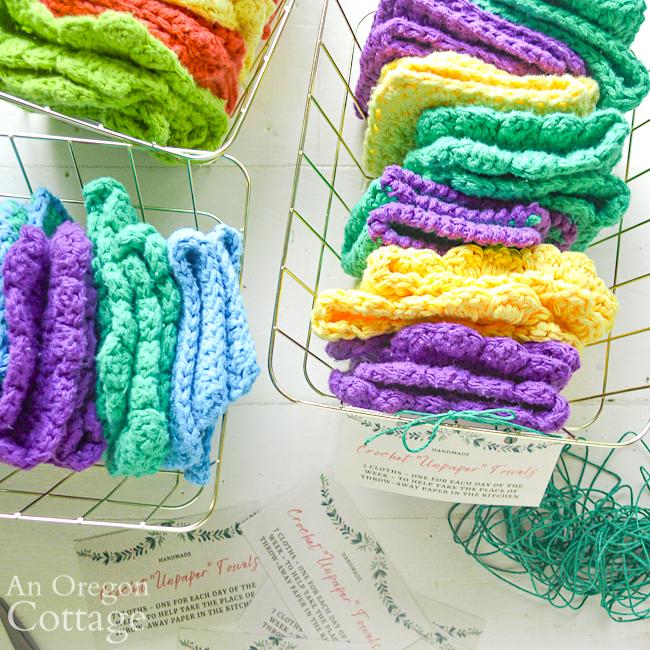 crochet unpaper towels baskets above