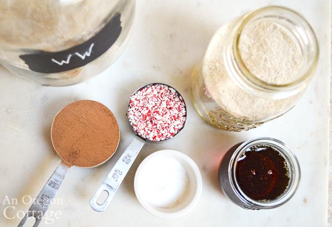 healthy chocolate mint cookies jar gift ingredients