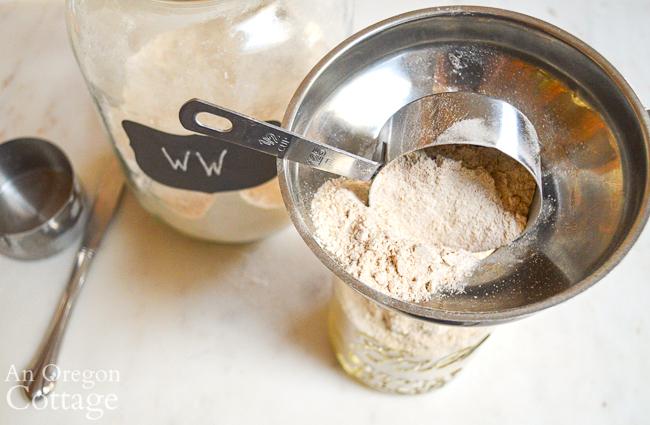 making healthy chocolate mint cookies in a jar