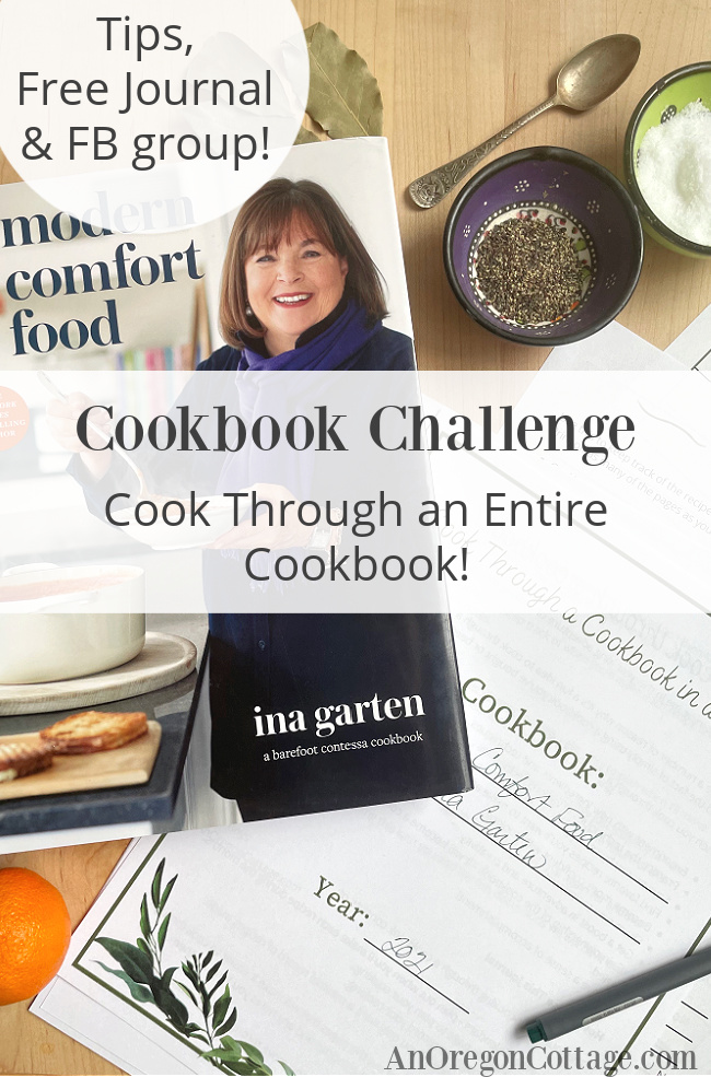 cookbook challenge with journal pin
