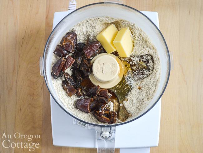 making oat blueberry bars-food proccessor