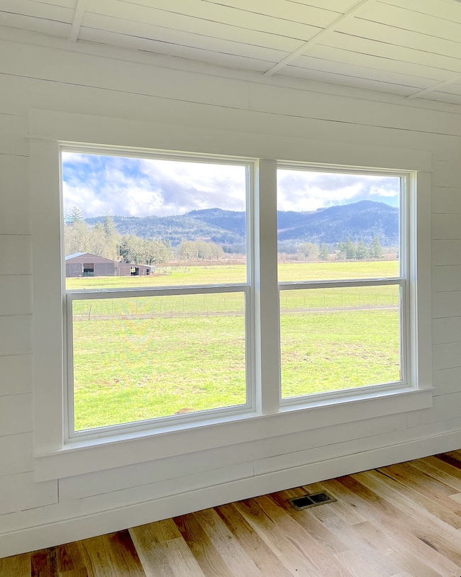 view from new farmhouse living room windows