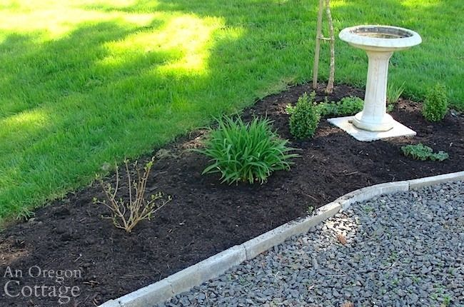 compost mulched flower bed