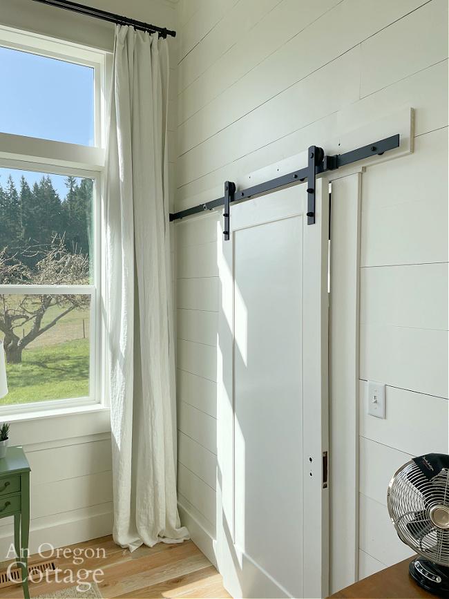 linen curtain panel-closet barn door