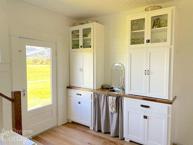 coffee bar cabinets with skirt