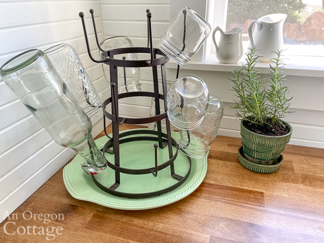 glass drying rack on counter
