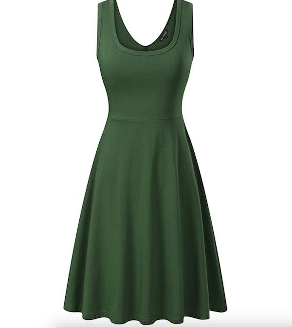 a-line green tank dress