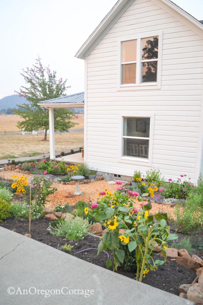 sunken garden from driveway north