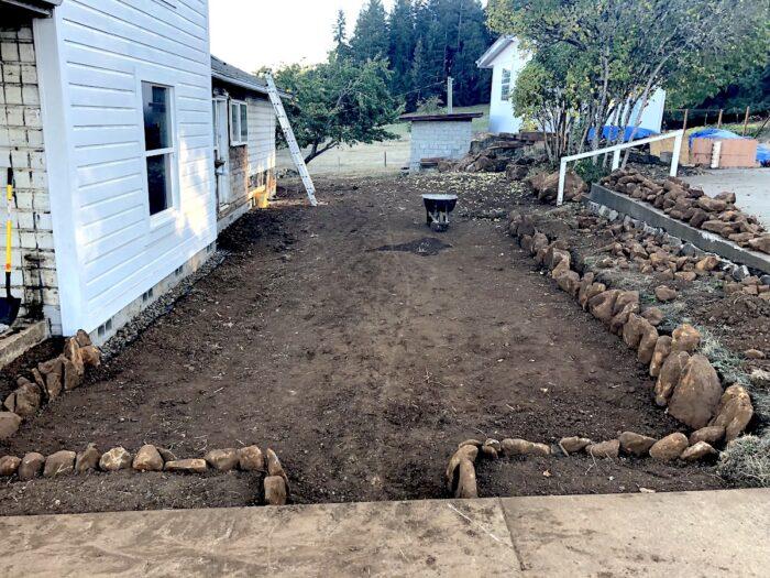 farmhouse sunken garden after excavating