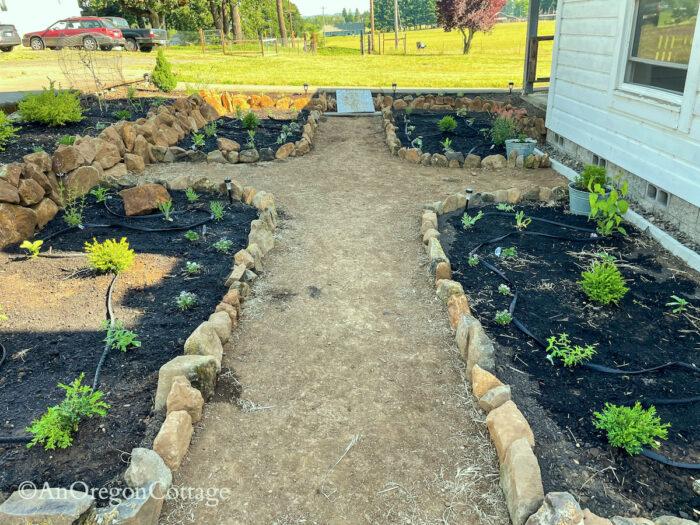 planted sunken garden-dirt paths